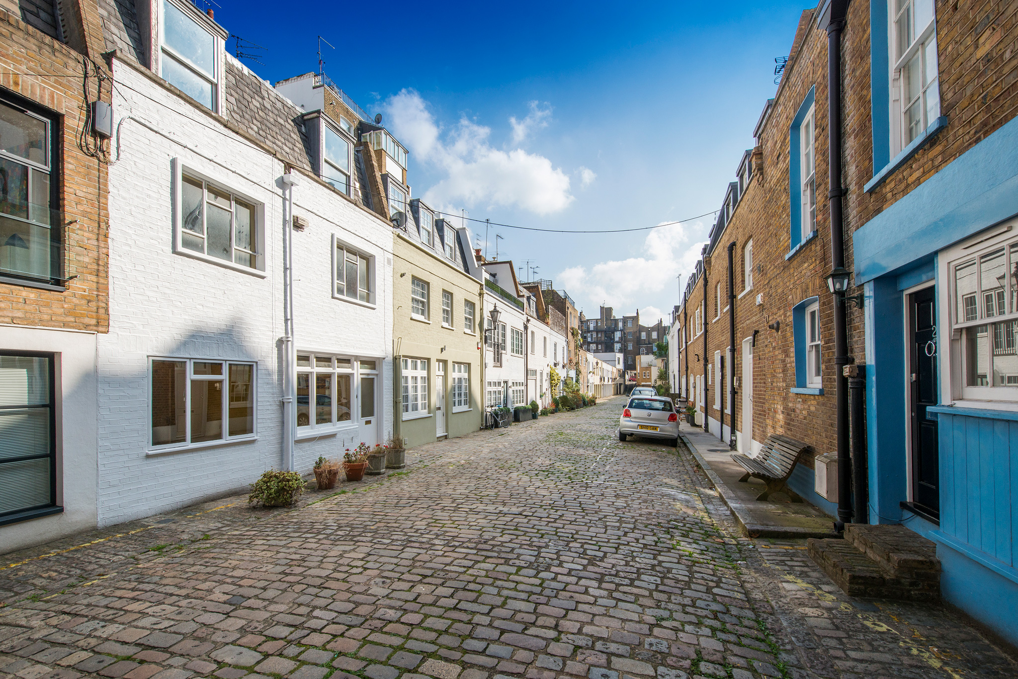 Upbrook Mews - which is about 3 metres below the level of the main houses around it