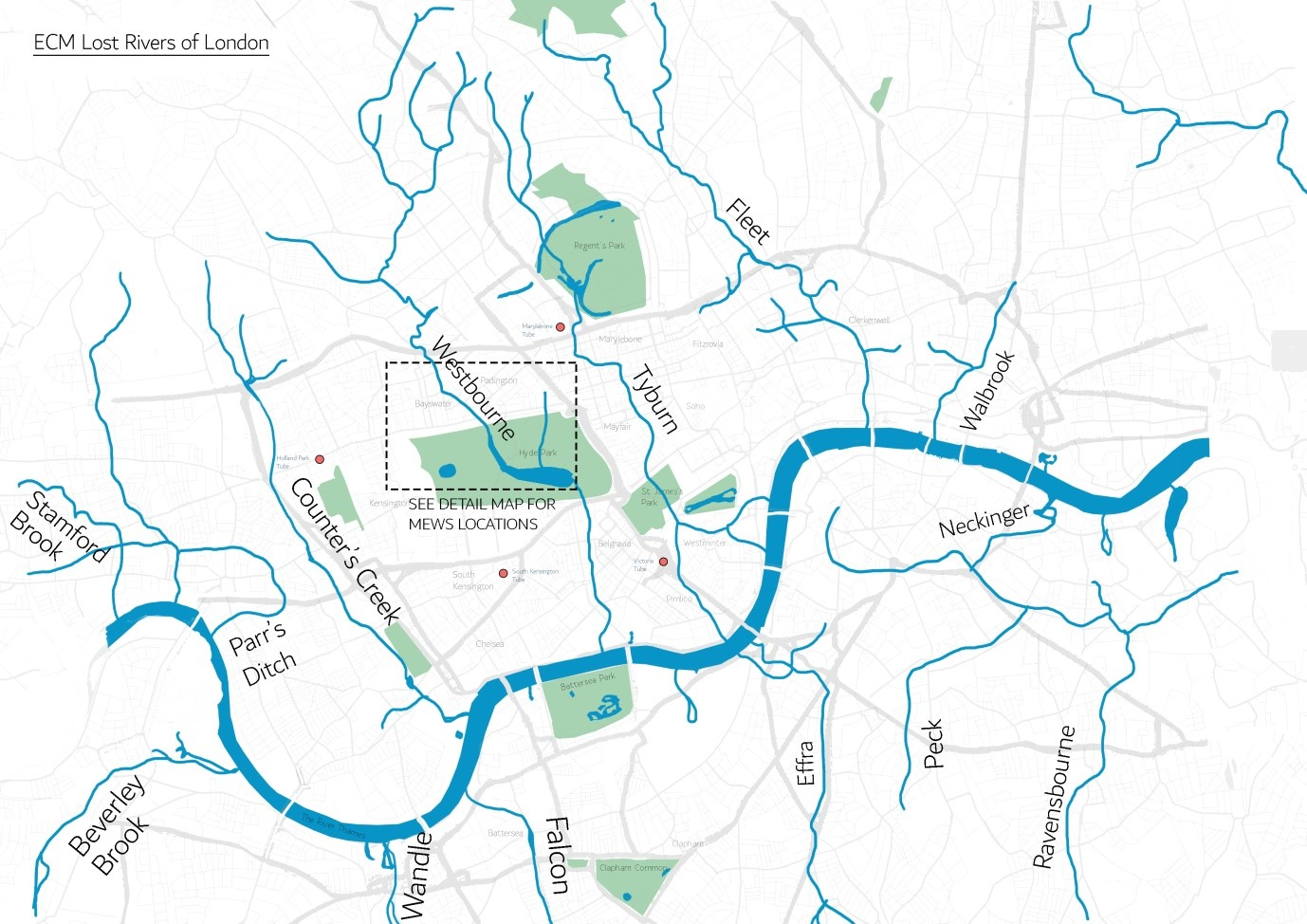 Ancient tributaries to the Thames in the London Basin